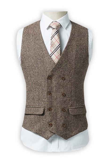 WC015 設計雙排扣修身西裝馬甲 訂購休閒西裝馬甲 男士英倫復古馬夾背心 坎肩外套專營 棕色
