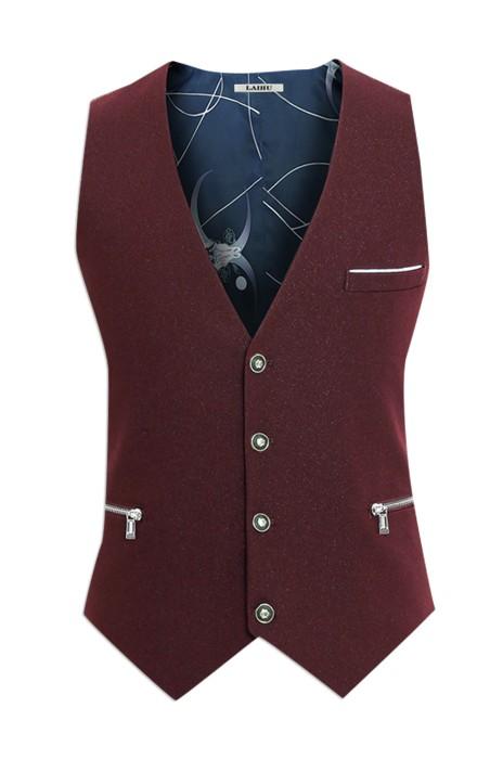 WC016  設計時尚休閒男士西服馬甲 訂購修身西裝馬甲  背心男英倫拉鏈袋 馬甲專門店 酒紅色