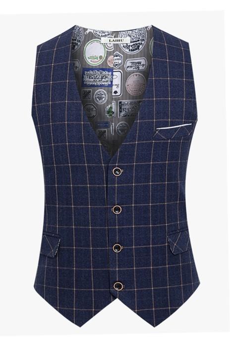 WC018 製作休閒男士西裝馬甲 訂購修身西裝背心 英倫格子西裝背心 背心坎肩供應商 藍色
