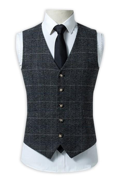 WC019 製作修身西裝馬甲  設計英倫風格子西裝背心 休閒格子西裝  馬甲男士背心坎肩 黑色