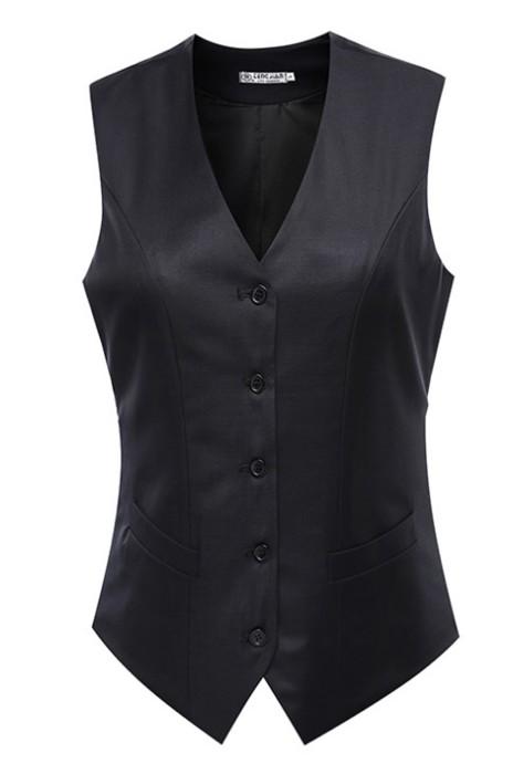 WC024 訂購酒店銀行女制服西裝背心  設計商務修身馬甲 度身訂造西裝背心 西裝背心專門店 黑色