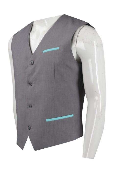 WC025 設計男士西裝背心馬甲 員工背心 HK Adeccopersonne 西裝背心供應商 淺灰色