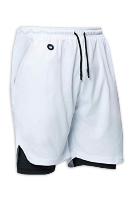 SKSP007 訂製運動短褲  跑步速乾緊身 設計雙層五分褲防走光 內襯設計手機口袋 後側拉鏈口袋  前側設計耳機孔  運動短褲供應商