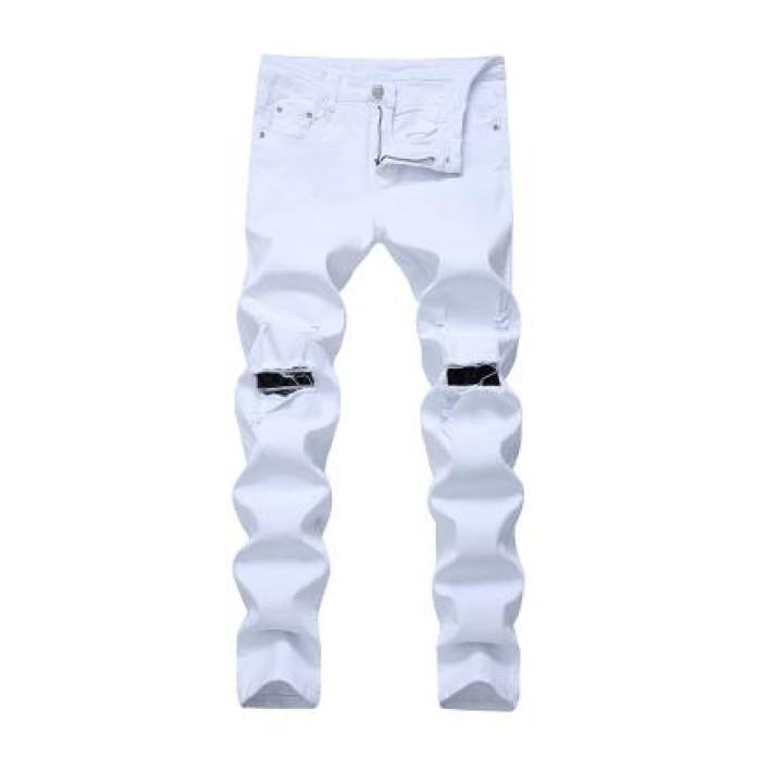 SKHT005 訂造彈力修身破洞褲款式   製作男裝破洞褲款式  穿窿 自訂牛仔破洞褲款式   破洞褲專營