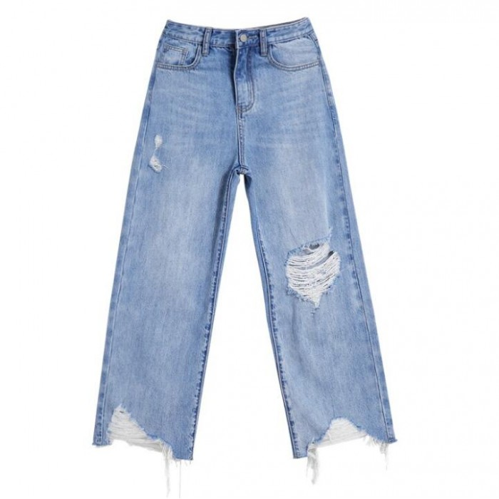 SKHT007 自訂寬鬆牛仔破洞褲款式   訂做直筒破洞褲款式  九分褲  穿窿 製造女裝破洞褲款式   破洞褲廠房