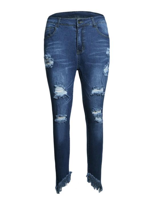SKHT009 訂做修身彈力破洞褲款式   製作高腰破洞褲款式  穿窿 自訂牛仔女裝破洞褲款式   破洞褲生產商