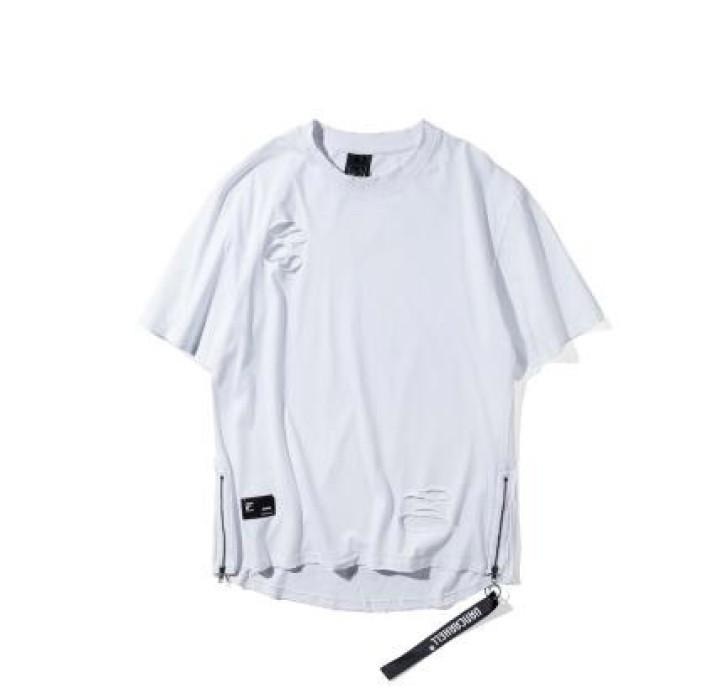 SKHS002  訂做歐美破洞T恤款式   設計寬鬆時尚破洞T恤款式  乞丐服   製作嘻哈破洞T恤款式   破洞T恤中心