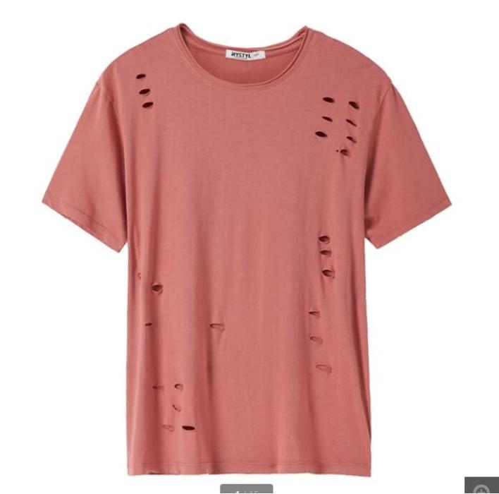 SKHS003  製造時尚破洞T恤款式   訂做舒適破洞T恤款式    設計破洞T恤款式  破洞T恤專營