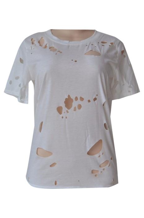 SKHS008    設計仿棉拉架烧花时尚破洞新款T恤   訂做女裝破洞T恤款式 穿窿 製造短款破洞T恤款式 破洞T恤專門店   穿窿 圖案