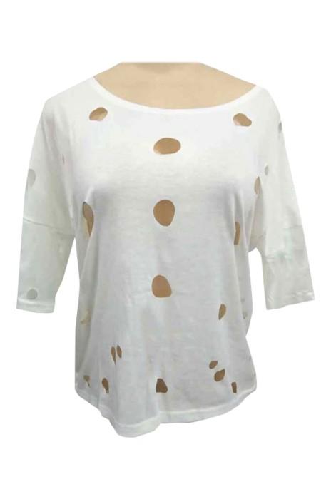SKHS007   夏季新款女裝   熱賣時尚圓領鏤空性感上衣   短袖女士T恤   破洞T恤    嘻哈  仿棉拉架   開窿