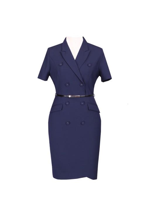 SKPD014  製造白領職業連身裙款式   自訂雙排扣連身裙款式   雙排扣   訂造修身短袖職業連身裙款式  職業連身裙生產商