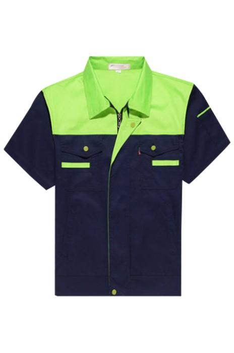 SKWK039 製造夏季短袖工作服 薄款耐磨勞保服 汽修服上衣 工廠車間廠服 工裝