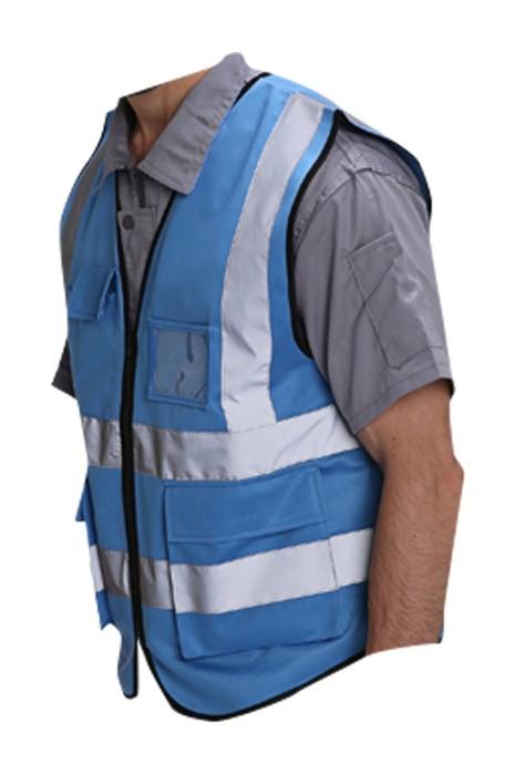 SKWK050 訂製反光背心工作服 設計反光條拉鏈背心 工作服供應商
