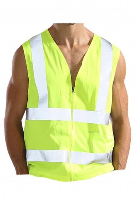 SKWK055 訂製反光安全帶風扇工作服 設計拉鏈 反光條背心馬甲  工作服製衣廠