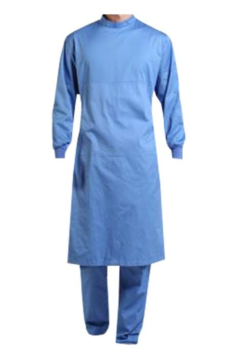 SKSN029 訂製純棉長袖手術袍 設計淨色手術隔離袍 手術袍中心
