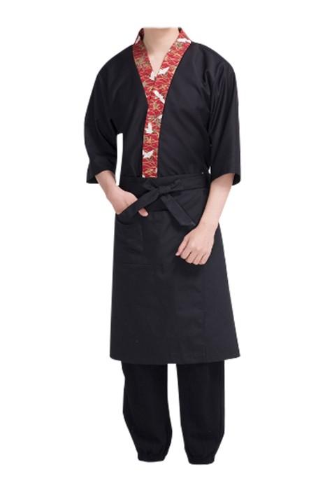 SKBB023  訂造日式餐廳制服   壽司  料理  設計印花衣領日式餐廳制服  日式餐廳制服供應商