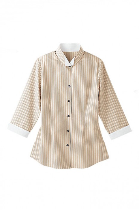 SKBB004 設計撞色領制服恤衫 水療休閒中心制服 條紋 襯衫專門店