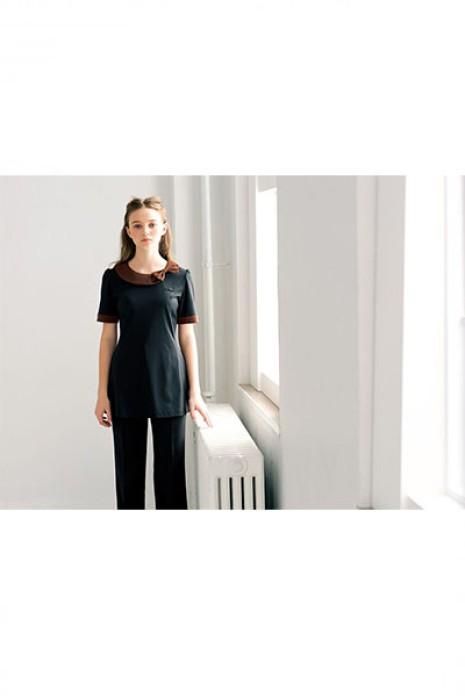 SKBB011 訂購酒店職員清潔服  領口蝴蝶結  酒店清潔服製造商
