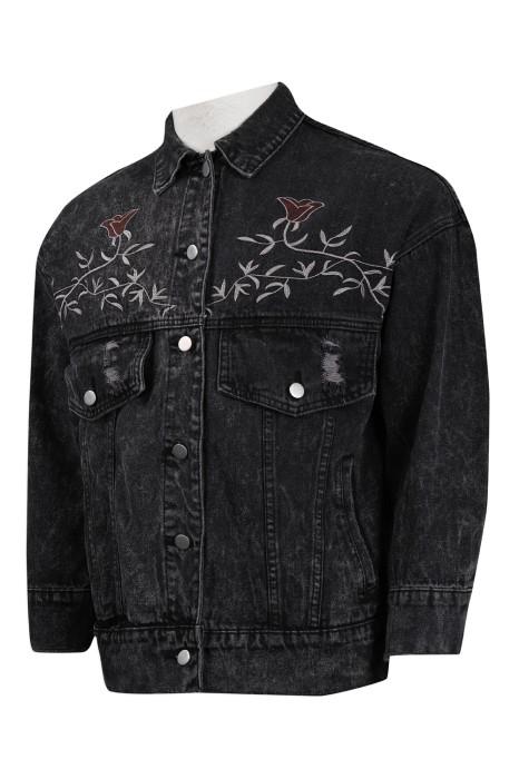 JN001 設計黑色牛仔外套 繡花牛仔外套 牛仔褸製造商