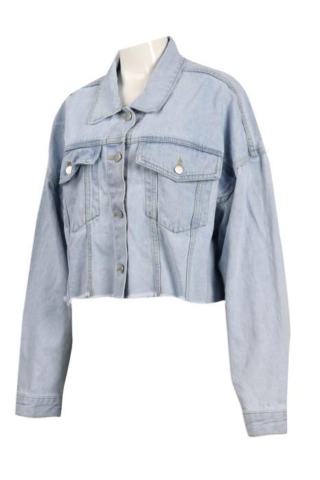 JN007 設計女裝短款牛仔外套  牛仔褸製衣廠