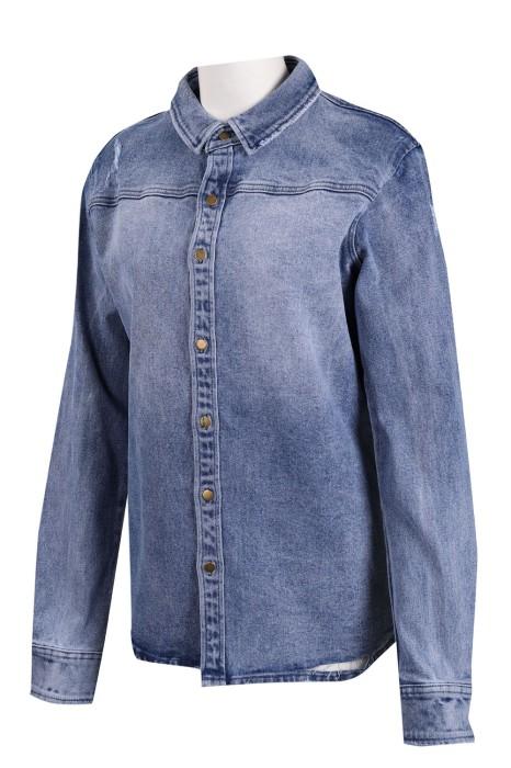 JN011 設計女款牛仔外套 修身 牛仔褸製造商 藍色