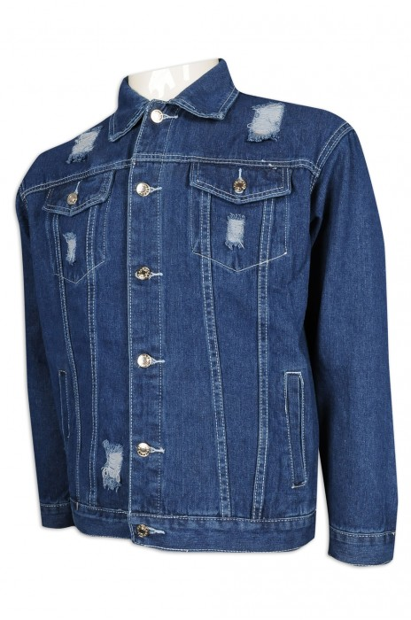 JN017 設計破洞牛仔外套 印花logo 唱歌比賽 學校 牛仔褸製造商 藍色