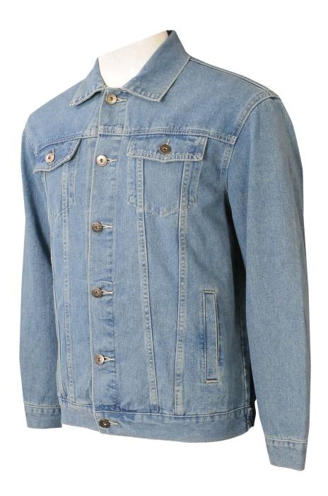 JN018   設計藍色牛仔褸   零售行業    金屬鈕扣    身側兩袋設計  胸前假袋設計   牛仔褸生產工廠  牛仔褸設計公司