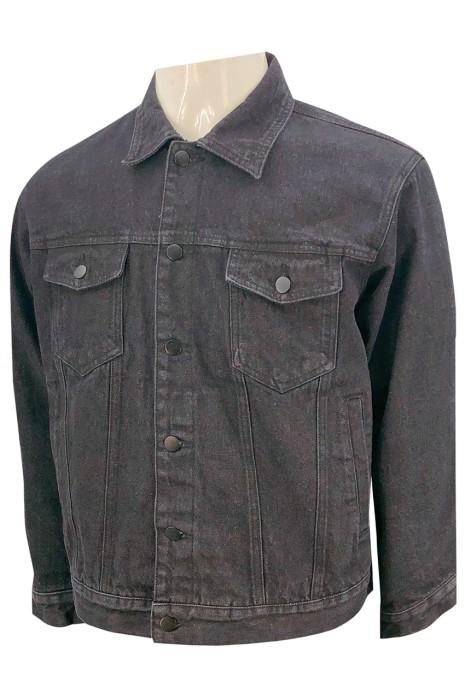 JN019  設計黑色牛仔衫  零售行業  金屬鈕扣  身側兩袋設計    胸前假袋設計 牛仔褸生產工廠 牛仔褸設計公司   美國   85%棉  15%聚酯纤维