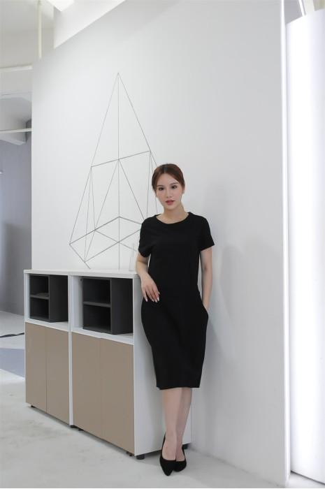 MDCU032 訂做黑色賭場制服 黑色直身裙 賭場制服製作商
