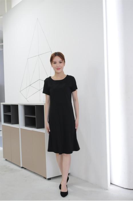MDCU033 訂做黑色女裝賭場制服 模特示範 直身修腰裙 賭場制服生產商