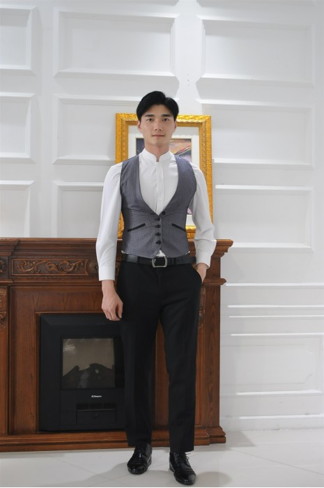 MDCU011 來樣製作賭場制服 真人試穿 亮灰色修腰工作馬甲 賭場制服生產商