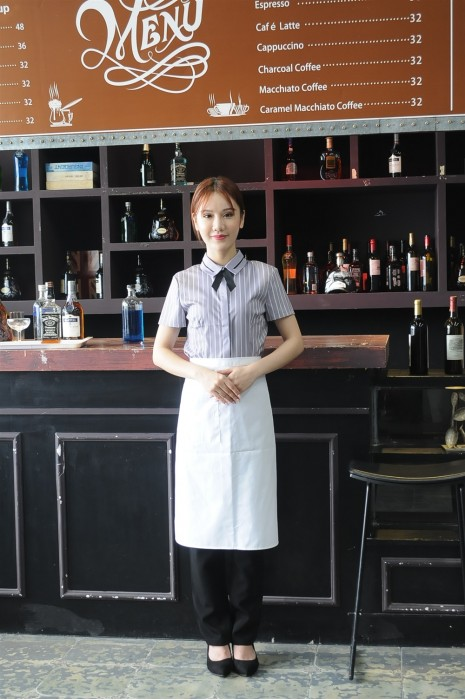MDCU018 來樣訂做賭場制服 真人試穿 服務員賭場條紋襯衫 半身圍裙 有領花 賭場制服生產商