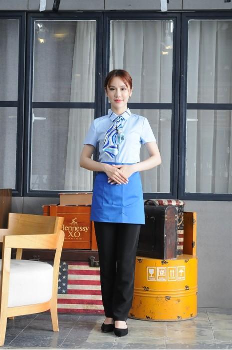 MDCU021 訂做短袖女裝賭場制服 真人展示 撞色領 賭場制服生產商