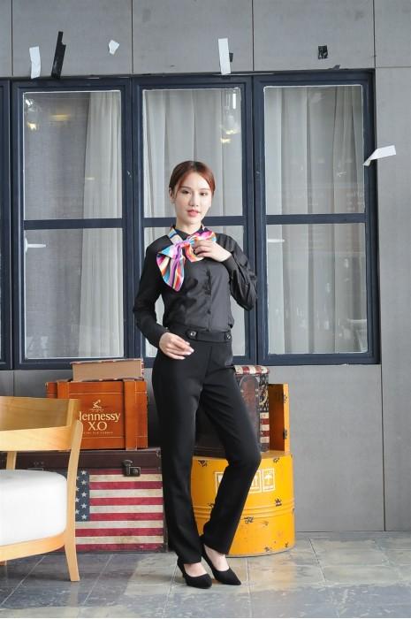 MDCU022 訂做黑色長袖賭場制服 模特試穿 真人示範 黑色恤衫 賭場制服供應商