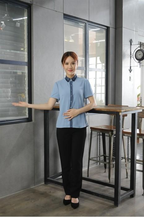 MDCU024 制訂淺藍色賭場制服  模特示範 真人展示 蕾絲款 賭場制服供應商