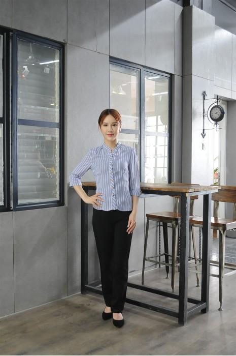 MDCU025 訂做女裝賭場制服 模特展示 真人試穿 條紋款 賭場制服網站