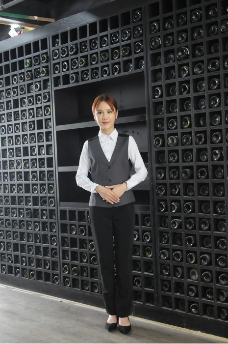 MDCU026 訂做賭場制服 真人試穿 寬鬆女裝拼色馬甲 賭場制服製衣廠