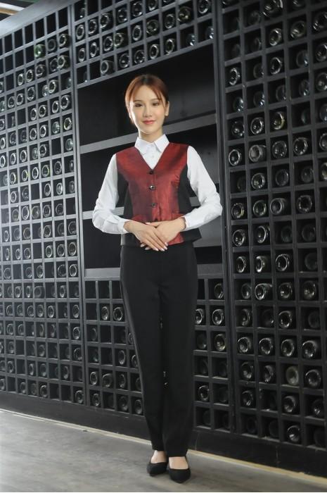MDCU027 制訂女裝賭場制服 真人展示 修腰拼色馬甲 賭場制服生產商