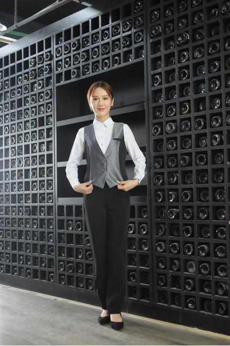 MDCU029 訂購女裝賭場制服 模特展示 真人試穿 拼色修腰馬甲 賭場制服網站