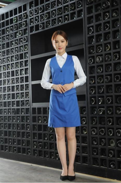MDCU030 製造藍色賭場制服 模特示範 真人展示 二件套馬甲 賭場制服專門店