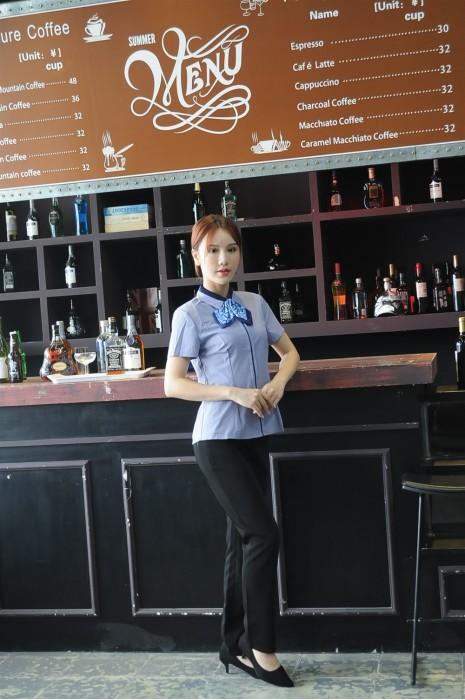 MDCU031 制訂女裝賭場制服 模特示範 撞色領 賭場制服專門店