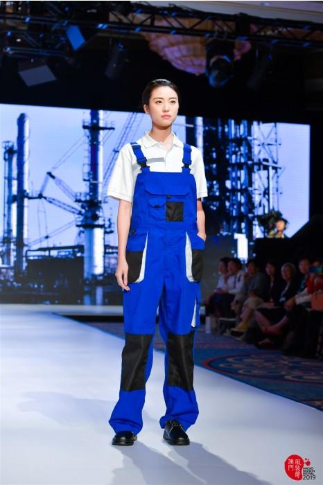 MDD001 模特走秀連身工業制服  背帶連身服真人示範  工作服製造商