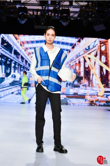 MDD004 工業反光背心真人試穿  工業套裝模特走秀 工業制服專營