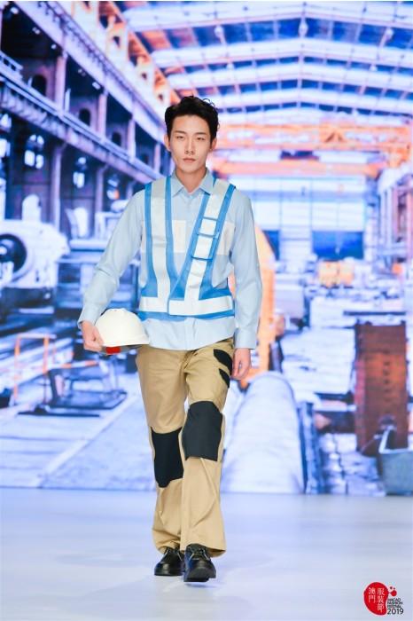 MDD007 反光背心套裝真人示範  模特走秀工業制服 工地服專營