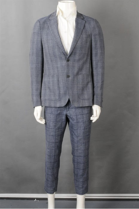 iG-BN-CN-047 订购格仔男西装套装 制作浅蓝色男西装 男喜欢hk中心