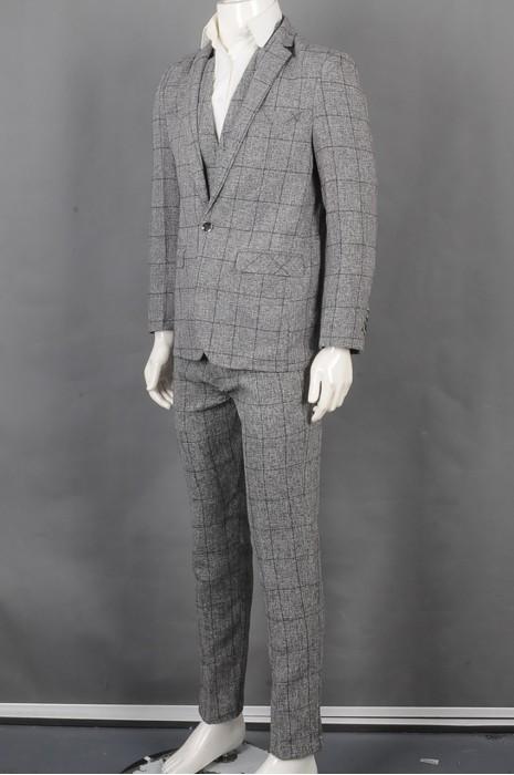 iG-BD-CN-036  设计时尚格仔男西装套装 制作灰色背心男西装   供应修身男西装套装 男西装专门店