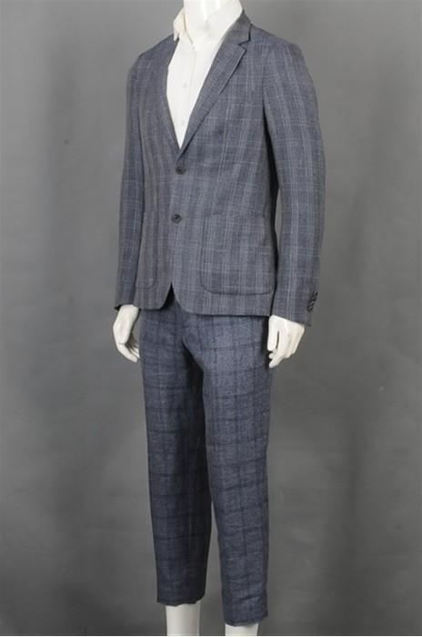 iG-BD-CN-038 订购格仔男西装套装 制作浅蓝色男西装 男喜欢hk中心