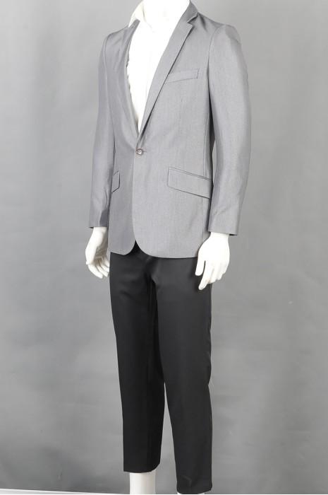 iG-BD-CN-135 制造灰色长袖男西装 时尚设计修身男西装 男西装制衣厂