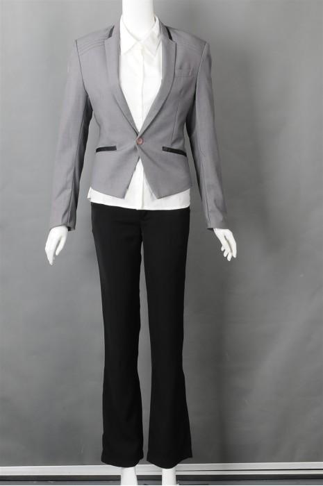 iG-BN-CN-054 设计灰色女西装  来样订做女西装 女西装制服公司