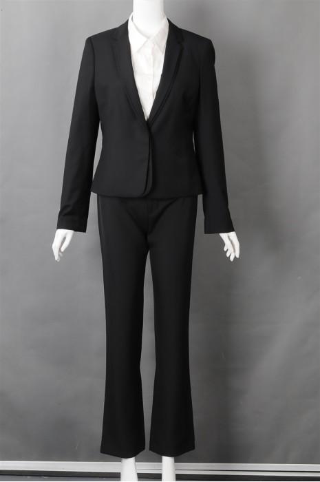 iG-BN-CN-055 设计黑色女西装套装 度身订造女西装 女西装制衣厂